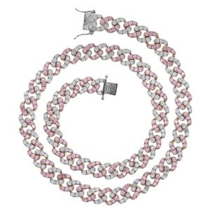Pink/White Cuban Link Chain